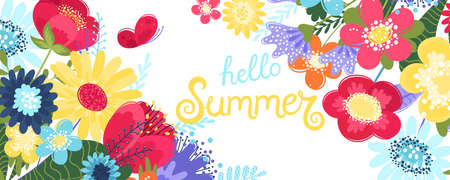 Hello summer background vector with flowers and a butterfly. Vector illustration with hand drawn text and flowers in flat style isolated on white background. Illustration