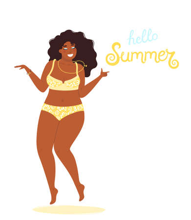 Hello summer background vector with a girl plus size in a bathing suit and hand drawn text Hello Summer. Cute vector illustration in flat style isolated on white background. 矢量图像
