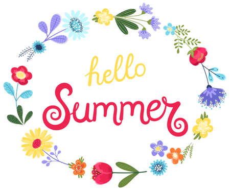 Hello summer background vector. Vector illustration with hand drawn text and flowers in flat style isolated on white background. EPS 8.