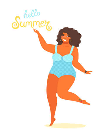 Hello summer background vector with a girl plus size in a bathing suit and hand drawn text Hello Summer. Cute vector illustration in flat style isolated on white background. Illustration