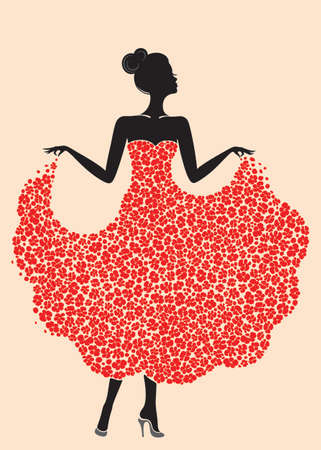 Young beautiful dancer girl in dress of flowers. Elegant woman silhouette isolated on pink background. Vector illustration. Illustration