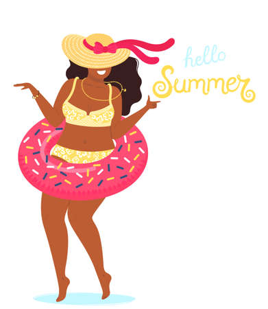 Hello summer background vector with a girl in a bathing suit and hand drawn text Hello Summer. Cute vector illustration in flat style isolated on white background.