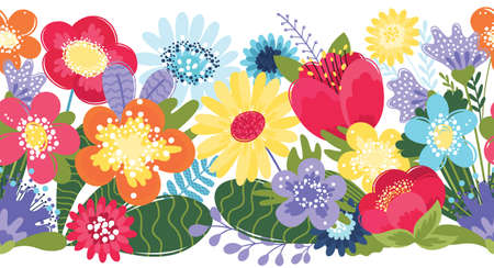 Floral seamless border. Flat funny flowers pattern on white background. Design for frames, tape, ribbon.