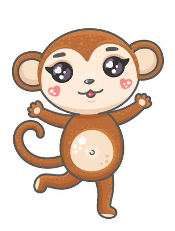 Cute monkey cartoon vector illustration. Smiling baby animal monkey in kawaii style isolated on white background. 矢量图像