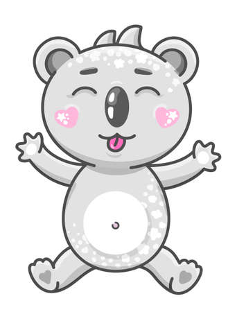 Cute koala cartoon vector illustration. Smiling baby animal koala in kawaii style isolated on white background. EPS 10.