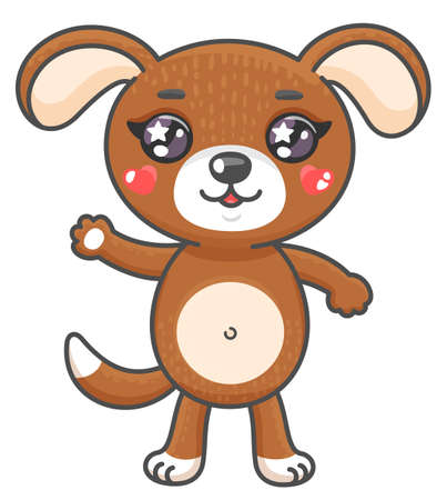 Cute puppy cartoon vector illustration. Smiling baby animal dog in kawaii style isolated on white background. EPS 10.