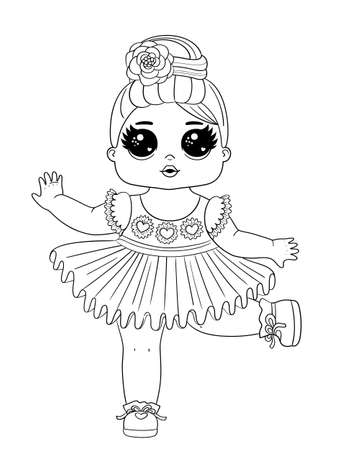 Line art baby dolls character. Cute outline baby doll isolated on white background. Perfect for fabric or nursery decor. Vector illustration EPS 8. 矢量图像