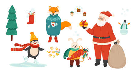 Winter holiday symbols bundle. Christmas celebration vector illustrations set. Santa Claus and cute animals isolated characters on white background. 矢量图像