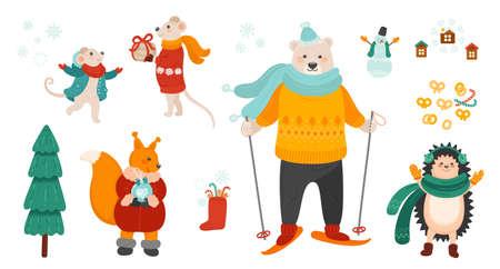 Winter holiday symbols bundle. Christmas celebration vector illustrations set. Cute animals isolated characters on white background. EPS 8. Illustration
