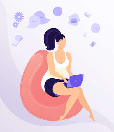 Work from home workplace concept design. Remote work. Happy young woman working on laptop, dressed in home clothes. Flat vector illustration isolated on white background.