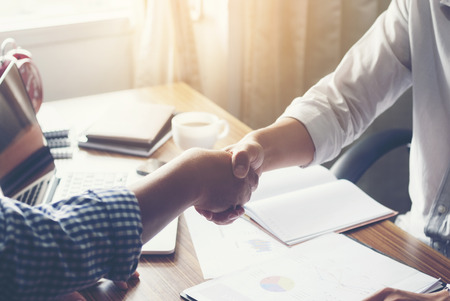 team leadership: Business handshake of two men. Stock Photo