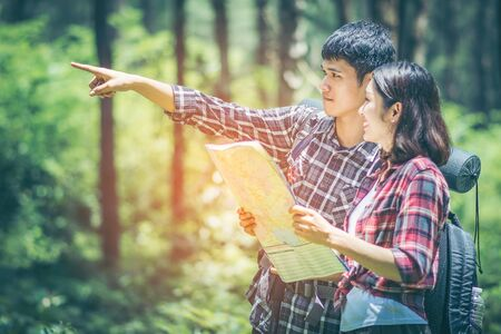 Amid the pine forests, young men and young women hikers Asians. They are travelers, adventure lovers of nature. Studying the ecology of rainforests. The man pointing to what he sees with copy space.