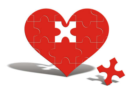 A puzzle of a red heart with one missing piece near it. It is just waiting to be completed. Stock Photo