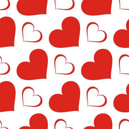 Seamless texture - a pattern of red hearts