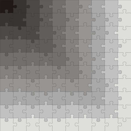 An illustration of a puzzle gradient, going from white to black, in 100 pieces illustration