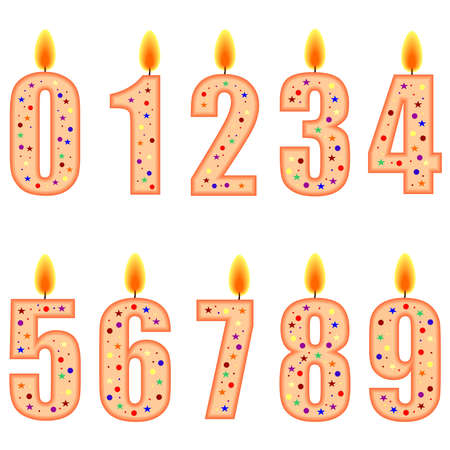 A set of numbered birthday candles - illustration Stock Illustration - 7477055
