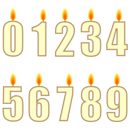 A set of numbered birthday candles - illustration Stock Illustration - 7477052