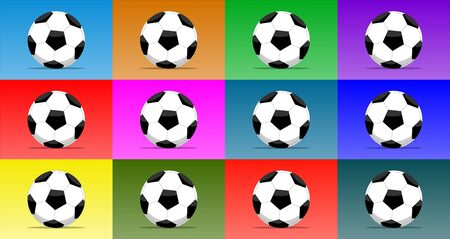 Set of 12 soccer balls isolated on multiple color backgrounds. Vector illustration