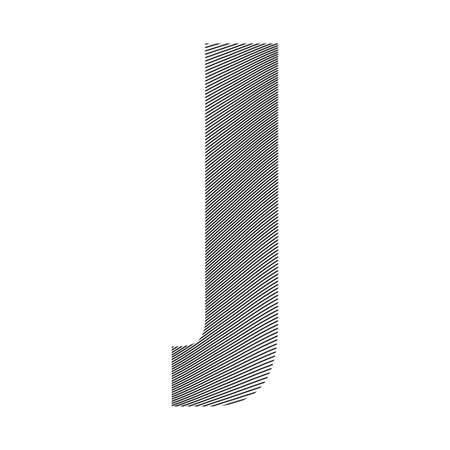 Graphic decorative element - capital letter J with a wavy striped pattern with curved lines applied over it. Can be used for logos, titles or as a drop cap