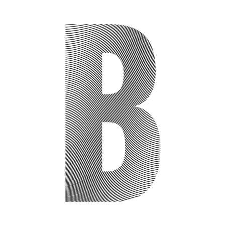 Graphic decorative element - capital letter B with a wavy striped pattern with curved lines applied over it. Can be used for logos, titles or as a drop cap Logó
