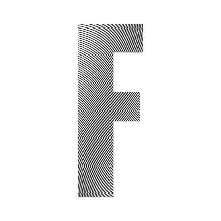 Graphic decorative element - capital letter F with a wavy striped pattern with curved lines applied over it. Can be used for logos, titles or as a drop cap Logó