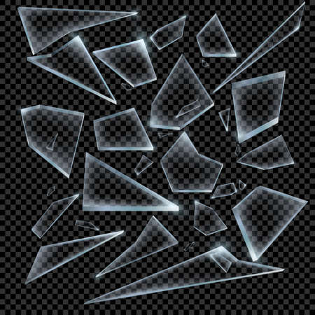 Realistic Shards of Broken Glass on Transparent Background Sharp Piece. Vector illustration. Иллюстрация