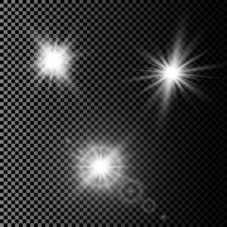 Ensemble d'effets de lumière rougeoyante avec transparence isolé sur fond de vecteur à carreaux. Lens flares, rayons, étoiles et étincelles avec la collection bokeh.
