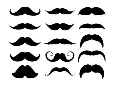 Set of Mustaches. Black silhouette of adult man moustaches. Vector illustration isolated on white background