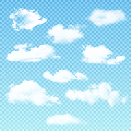 Vector set of realistic isolated cloud on the transparent background. Vector illustration.