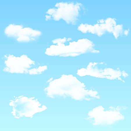 Vector set of realistic isolated cloud on the blue background. Vector illustration. 矢量图像