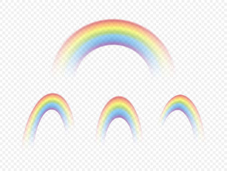 Set of colour rainbows isolated on transparent background. Vector illustration. 矢量图像