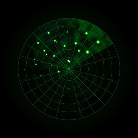 Green radar isolated on dark background. Military search system. HUD radar display. Vector illustration. Ilustración de vector