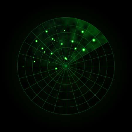 Green radar isolated on dark background. Military search system. HUD radar display. Vector illustration. Векторная Иллюстрация