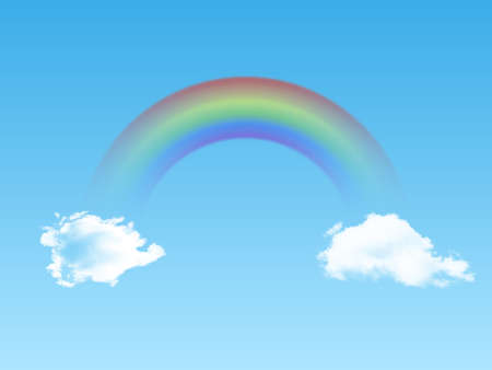 Bright arched rainbow with clouds realistic on blue background. Vector illustration.