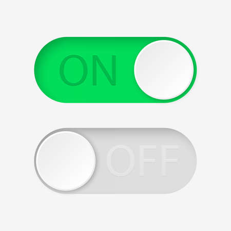 On and Off toggle switch buttons. Vector illustration.