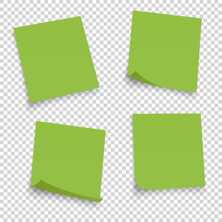 Collection of different green sheets. papers note with curled corner isolated on transperent background. Vector illustration.