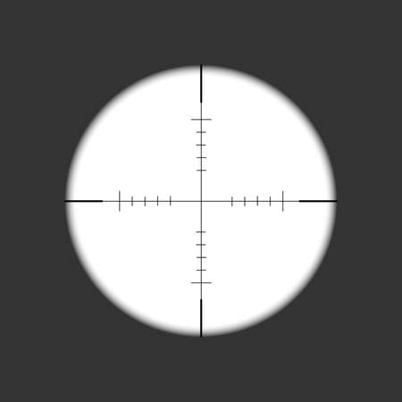 Sniper rifle scope. Weapon aim. Template of optical glass. Target concept. Vector illustration.