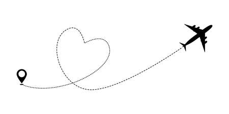 Heart airplane travel route line for romantic journey concept. Vector illustration.