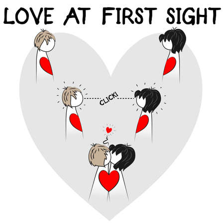 Sweet love at first sight illustration, cartoon characters embraced in a passionate kiss… Ideal as a gift for your significant other.