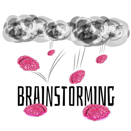 Brainstorming represented quite literally – brains falling from stormy clouds.