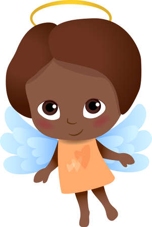 Angel with dark skin and hair, beautiful blue wings and yellow dress, sweet cartoon character