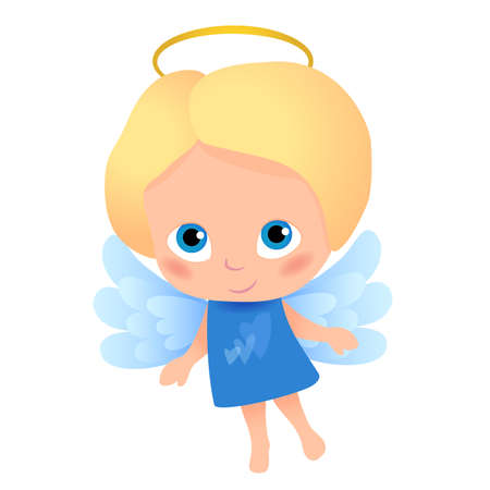 Angel with blonde hair in a blue dress with hearts in front, blue wings. Childlike character, suitable for print and web design of cards, banners… Ilustração