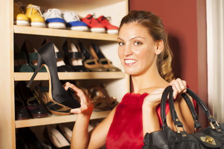 buying: Woman buying shoes