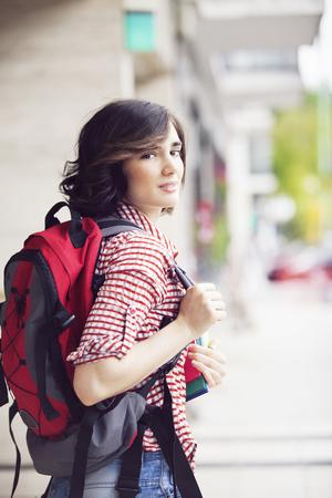 backpacker: Female Backpacker Stock Photo