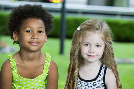 afro caribbean ethnicity: Happy multiethnic little friends Stock Photo