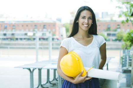 female architect: Female architect working outdoors Stock Photo