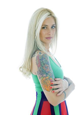 tattoed: Blonde tattooed woman posing