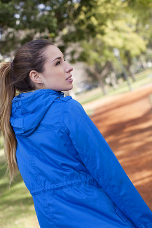 excercise: Woman doing morning excercise Stock Photo