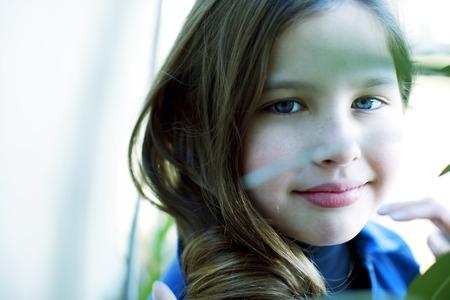 10 11 years: Happy little girl portrait