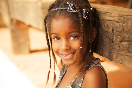 people only: Happy african american little girl portrait Stock Photo
